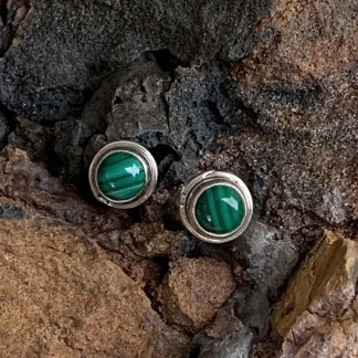 Malachite & Sterling Silver Studs