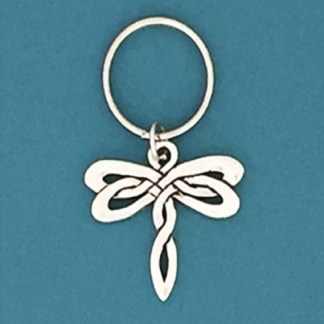 Celtic Dragonfly Pewter Keychain