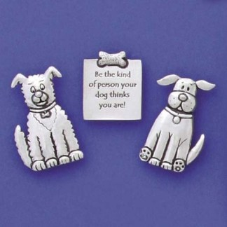 Pewter Magnets-Dog Quote