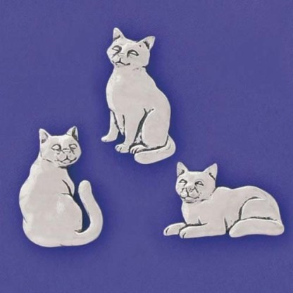 Pewter Magnets-Three Cats