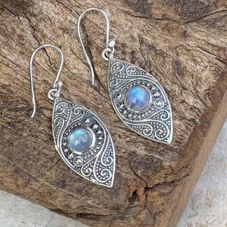 Rainbow Moonstone Leaf Earrings