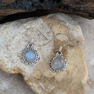 Rainbow Moonstone Filigree Earrings
