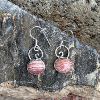 Rhodochrosite & Sterling Dangle Earrings