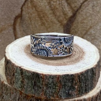 Sterling Sunflower Band Ring