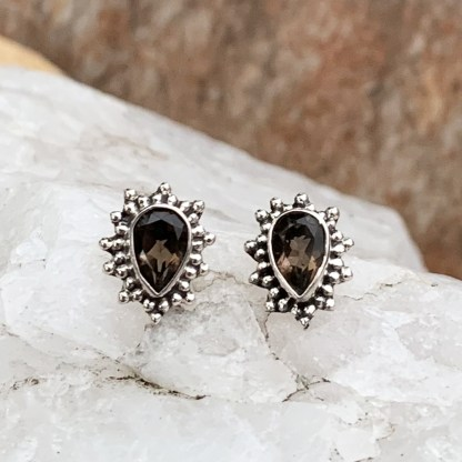 Smoky Topaz & Sterling Earrings
