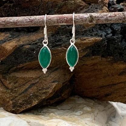 Green Onyx Sterling Earrings