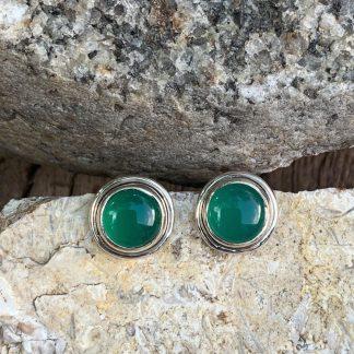 Green Onyx Stud Earrings