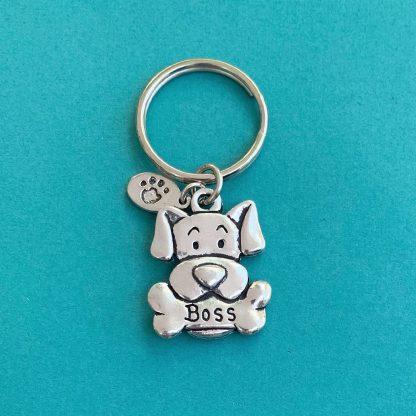 Pewter Keychain-Boss Dog