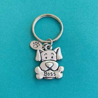 Pewter Keychain-Boss Dog