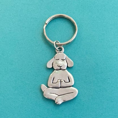 Yoga Dog Pewter Keychain