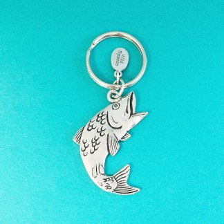 Jumping Fish Pewter Keychain