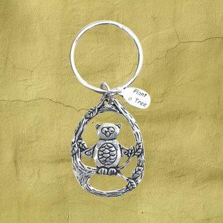 Tree Owl Pewter Keychain