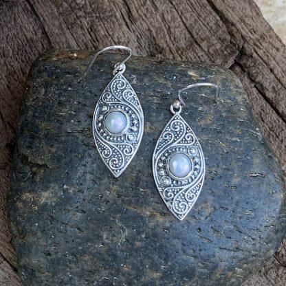 Pearl Antiqued Sterling Earrings