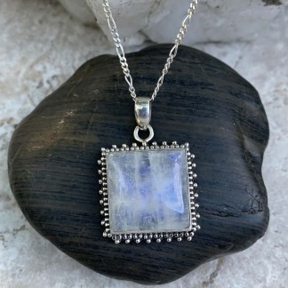 Rainbow Moonstone Square Pendant