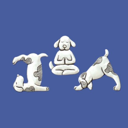 Yoga Dogs Pewter Magnets