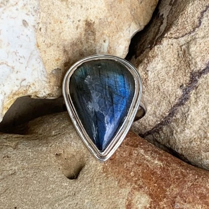 Sterling Labradorite Teardrop Ring