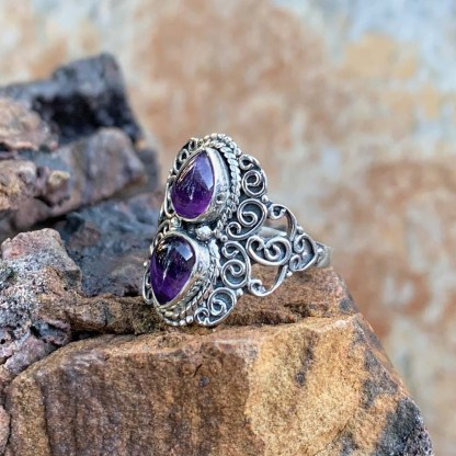 Amethyst Double Cabochon Ring