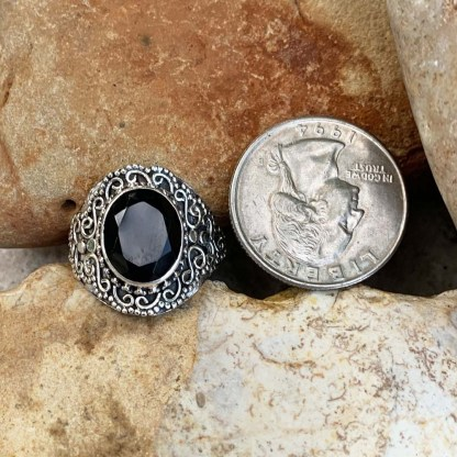 Black Onyx Faceted Ring
