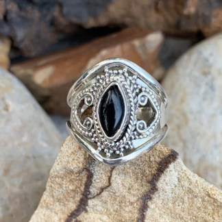 Black Onyx Marquise Ring