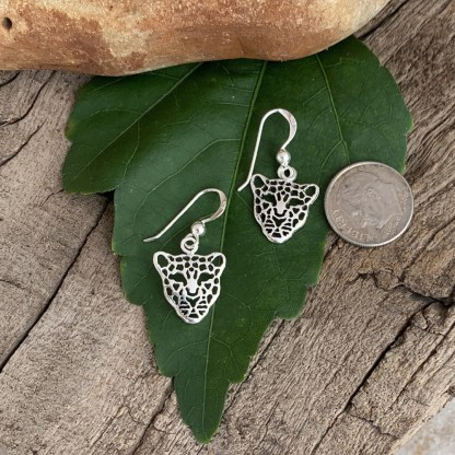 Sterling Leopard Head Earrings