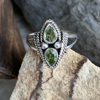 Double Faceted Peridot Ring