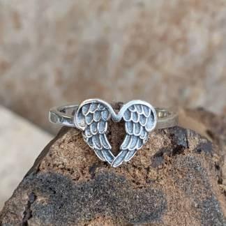 Sterling Angel Wings Ring