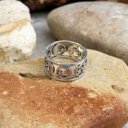Sterling Moon & Star Ring