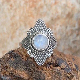 Woven Rainbow Moonstone Ring