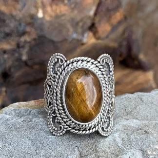 Sterling Tiger's Eye Ring