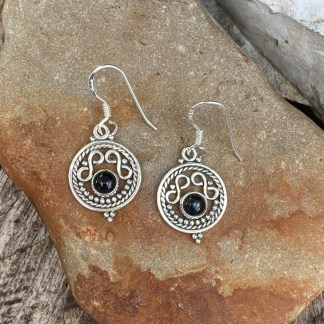 Black Onyx Infinity Earrings