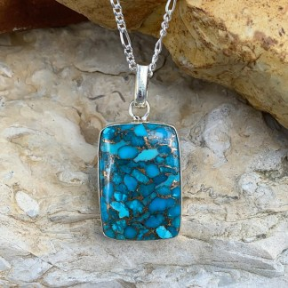 Blue-Copper Turquoise Rectangular Pendant
