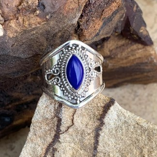 Sterling Lapis Marquise Ring