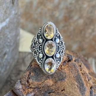 Sterling Triple Citrine Ring