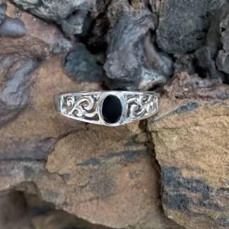 Dainty Black Agate Ring