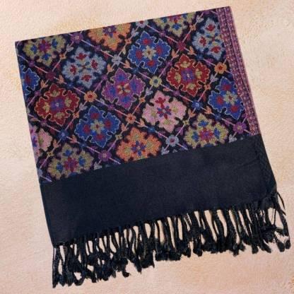 Black Multicolor Shawl-Scarf