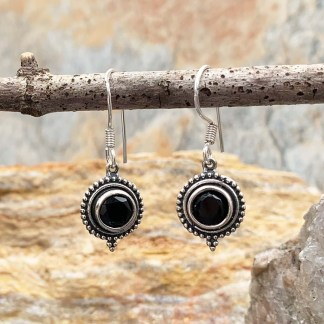 Faceted Round Black-Onyx Earrings
