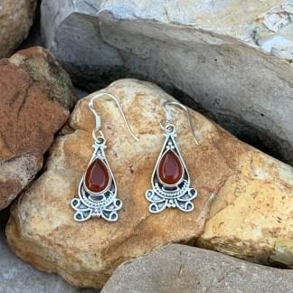Sterling & Carnelian Teardrop Earrings