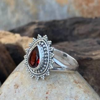 Sterling Teardrop Garnet Ring