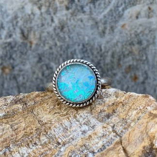 Round Sterling & Opal Ring
