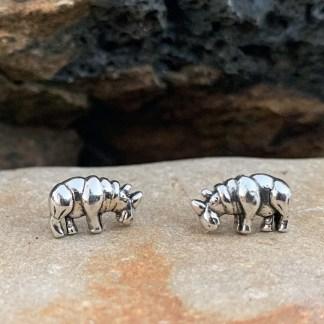 Sterling Rhino Stud Earrings