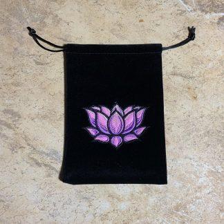 Velvet Lotus Drawstring Pouch
