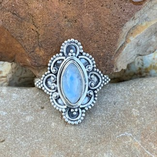 Lacework Rainbow Moonstone Ring