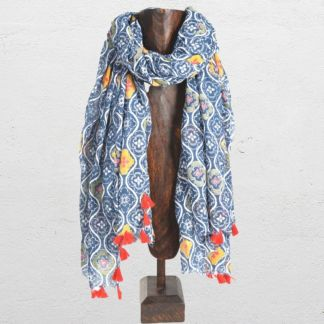 Blue Multicolor Cotton Scarf
