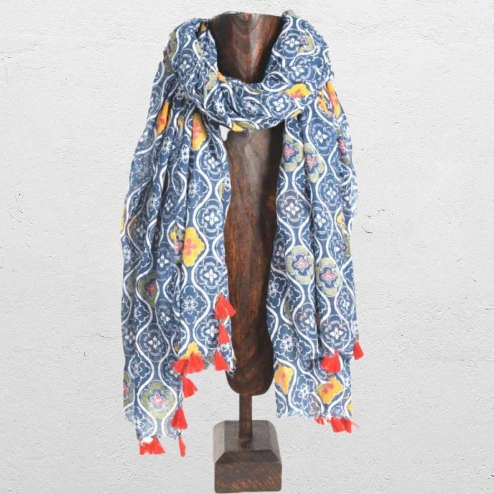 Blue Multicolor Cotton Scarf