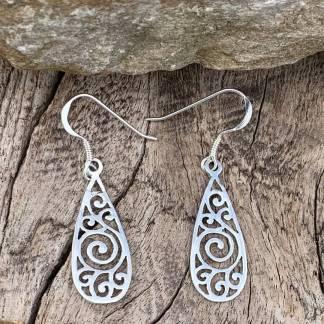Sterling Swirl Dangle Earrings