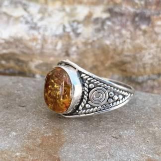 Sterling Spiral Amber Ring