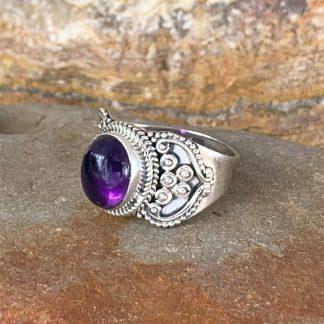 Amethyst Cabochon Heart Ring