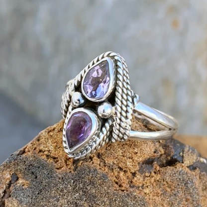 Sterling Twin Amethyst Ring