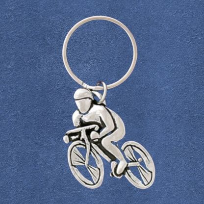 Speed Cycling Pewter Keychain