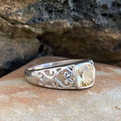 Sterling Citrine Heart Ring